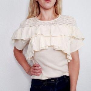 Mia Joy Ivory Knit Ruffle Sweater Blouse Top 445